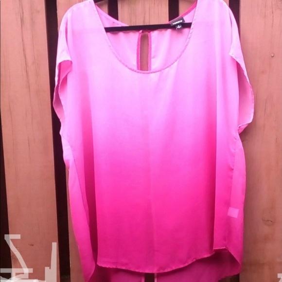 Torrid Dolman Pink Ombre Sheer Top
